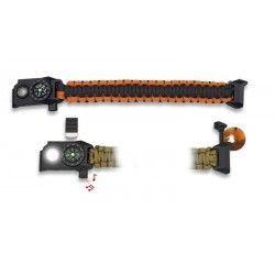 Brazalete paracord/ brujula/silbato/LED